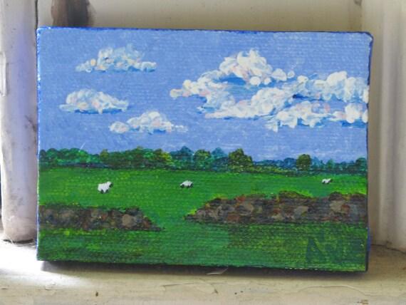 Fair Weather Clouds, Cotswolds small original acrylic landscape