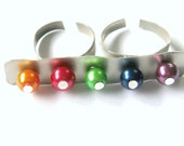One of a kind rainbow coloured two finger ring