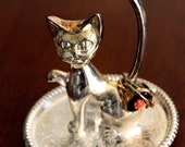 Vintage Silver Plated Cat Ring Jewelry Holder