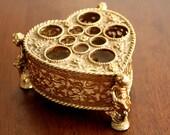 Antique Vintage Intricate Gold Heart Shaped Lipstick Makeup Holder