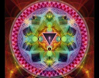 Mandala ISIS, Original Spiritual Art, Psychedelic Art, Visionary Art, Fine art print on photopaper