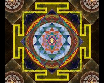Original Mandala YANTRA, Spiritual Art, Psychedelic Art, Visionary Art printed on archival photopaper