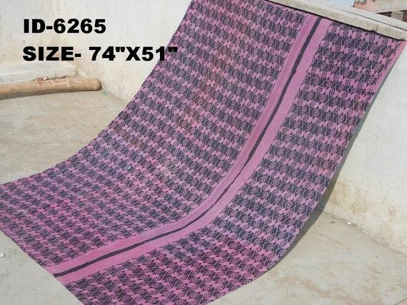 Vintage Kantha Quilt Gudri Reversible Throw Ralli :6265
