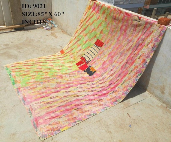 Vintage Cotton Sari Kantha Quilt Gudri Reversible Throw Ralli India : 9021