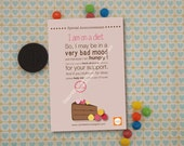 "Printable Card ""I am on Diet"""