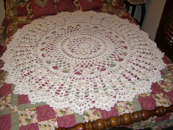 Giant cotton doily rug extra thick table cloth throw cream for Table th row group