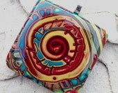 Multicolour polymer clay and resin square pendant