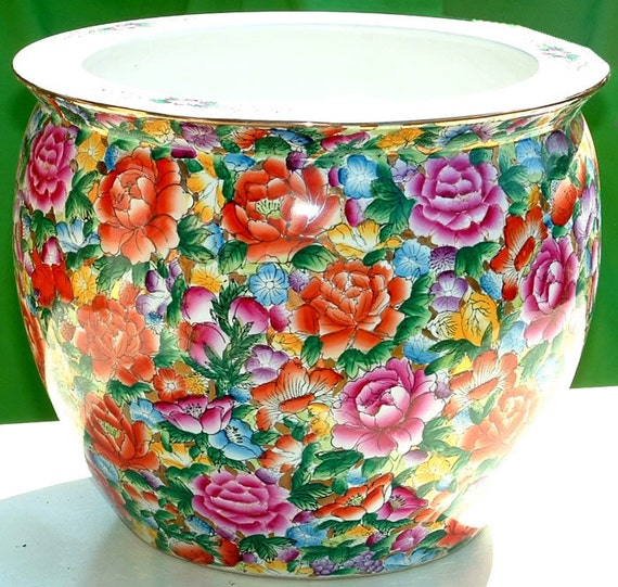 CERAMIC PLANTER -  Floral Vintage Large Planter with Gold