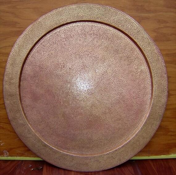 LARGE METAL PLATTER -  Brass or Copper  Vintage Platter Tray or Plate with Engraved Floral and Leaf Design Design