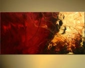 """Red Abstract PRINT  34"""" Canvas STRETCHED Modern ready to hang by OSNAT"""