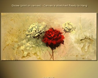 """48""""  Blooming Rose Flower Canvas Print Ready To Hang & embellished (brush strokes are added by the artist) Osnat"""