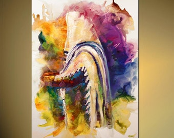 """Colorful Rabbi Print on Canvas Religious Judaica Art  LIMITED EDITION  3 of 30  Embellished Ready to Ship by  Osnat 40""""x30"""""""