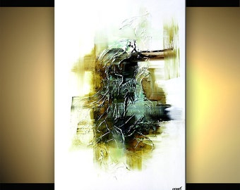 White Abstract Art Contemporary Textured Abstract Painting Olive Green Black White Original by OSNAT Tzadok 36