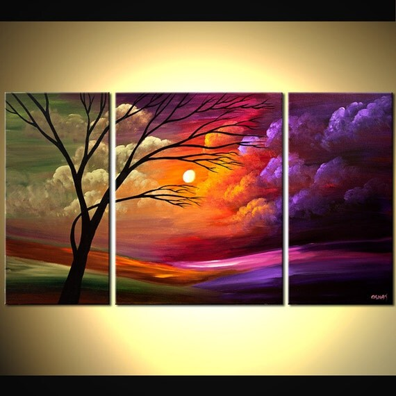 ORIGINAL Abstract Landscape olive PurpleTree Painting On Canvas Ready to Hang 54x30 by Osnat