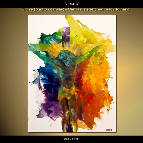 """Jesus Print Colorful 24""""x18""""  on Canvas Stretched Ready To Hang & embellished (brush strokes are added by the artist) Osnat"""