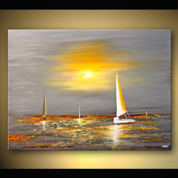 Abstract Yellow Paintings Abstract Seascape Painting
