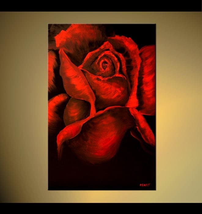 Original large abstract red rose acrylic flowers painting for Painting large flowers in acrylic