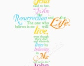 Easter/Spring Scripture Verse John 11:25 - 5x7 digital printable word art