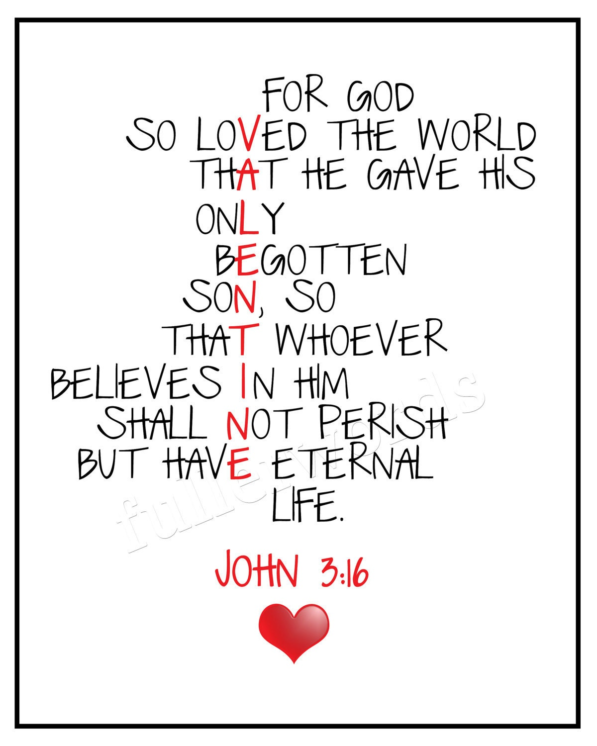 16 Valentine S Day Quotes To Share The Love: John 3:16 Bible Verse 8x10 Valentines Digital By Fullerwords