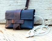 Villager black leather belt iPhone wallet with wristlet strap