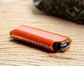 HIP/ orange genuine cow Leather Lighter Case