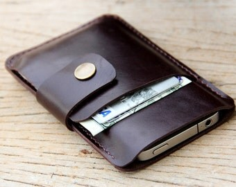 Mini soil dark brown leather iphone wallet case