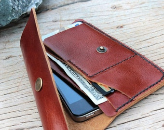 S-Branch brown leather iphone wallet