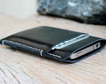 2 side mini black leather iphone case