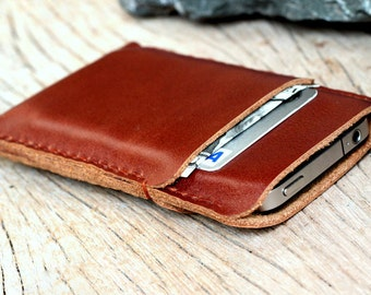 2 side mini  branch brown leather iphone case