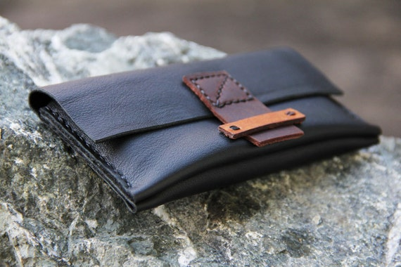 Hip  iphone wallet, handmade genuine black leather bag with hand stitched wax cord