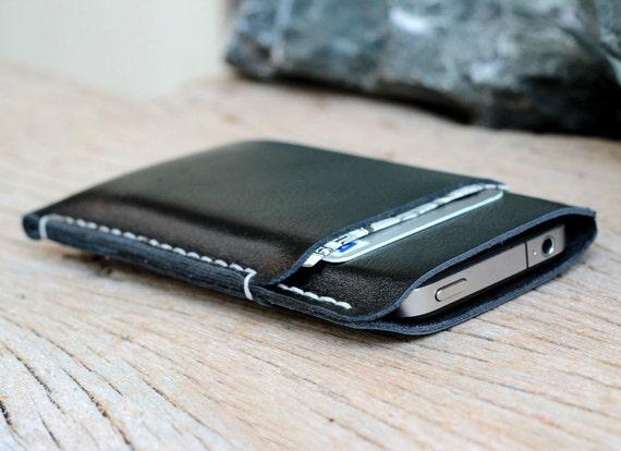 2 side mini black leather iphone case