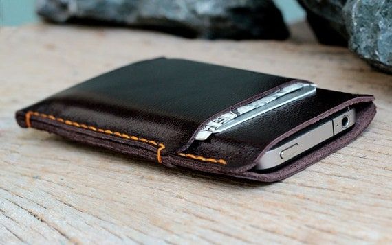 2 side mini soil-brown leather iphone case