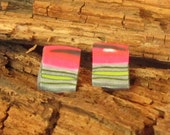 Bright pink & green polymer clay earrings - Mimi