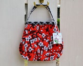 Quilted Toddler Purse handmade in red, black and white retro bird print