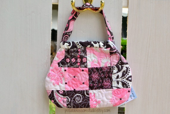 Toddler Purse Quilted for girl in pink, brown, white patchwork meandering-heart stitch