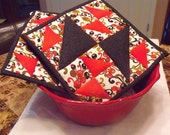 Red, Black and White Quilted Potholders - Set of 2
