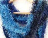 Blue Fun Fur Crochet Scarf - HANDMADE BY ME