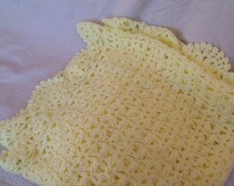 Soft Yellow Crochet Baby Blanket - HANDMADE BY ME