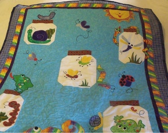 "Bug Jar Toddler/Lap Quilt 40"" x 49"" - HANDMADE BY ME"