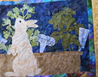 Bunny in Herb Garden - Quilted Wall Hanging - Made to Order - HANDMADE BY ME