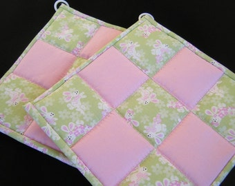 Green and Pink Easter Quilted Potholders - Set of 2 - HANDMADE BY ME