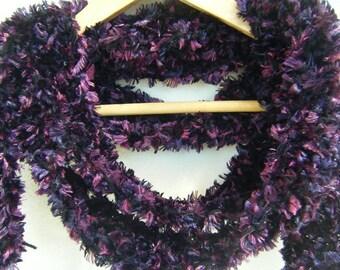 On Sale - Purple Long Skinny Boa Crochet Scarf - HANDMADE BY ME