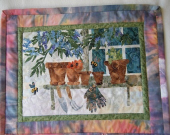 Flower Pots and Bees - Quilted Wall Hanging - MADE TO ORDER - Handmade by Me