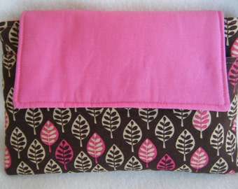 Kindle 3 Sleeve in Dark Brown with Leafs