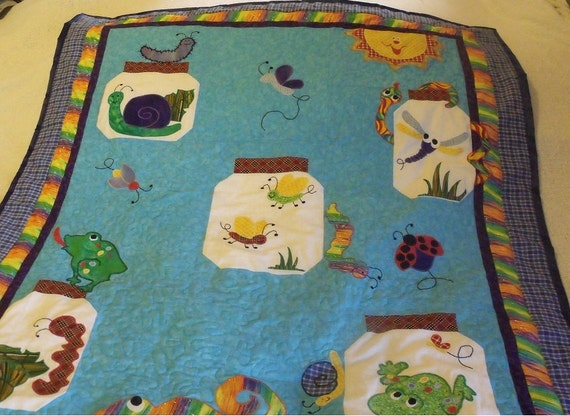 "Bug Jar Toddler/Lap Quilt 40"" x 49"" - HANDMADE BY ME"