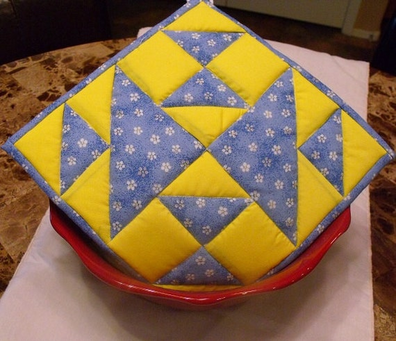 Blue & Yellow Quilted Potholder