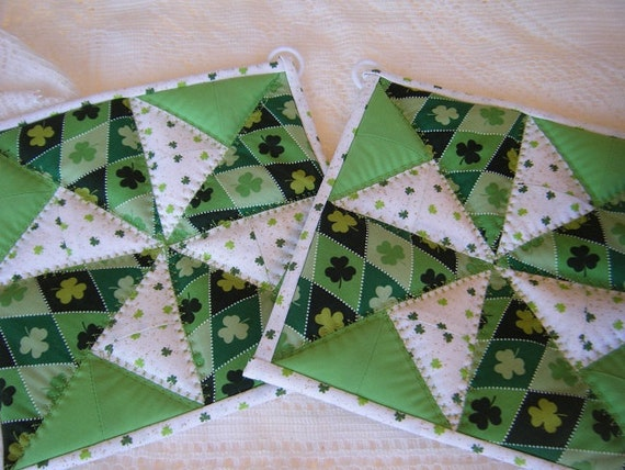 St Patricks Day Quilted Potholders - Set of 2
