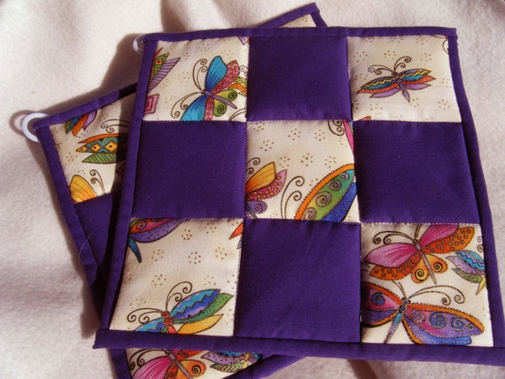 Quilted Potholders Butterflys and Purple - Set of 2
