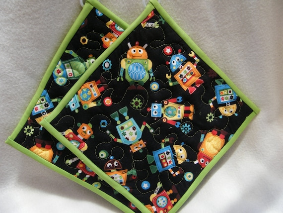 Quilted Potholders Cute Robots- Set of 2