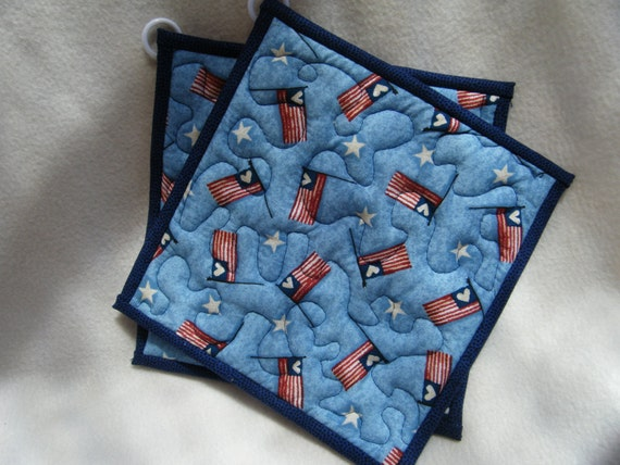 Quilted Potholders Patriotic- Set of 2